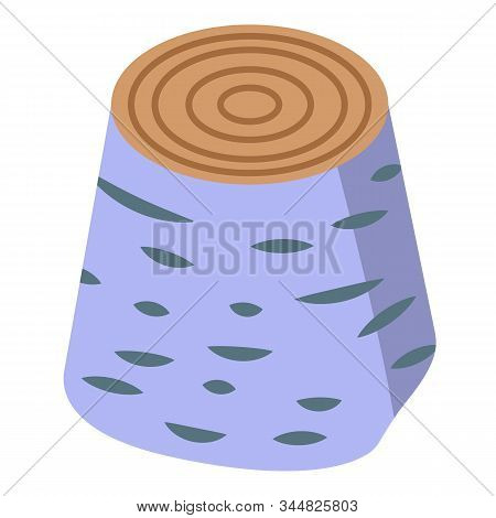 Birch Tree Stump Icon. Isometric Of Birch Tree Stump Vector Icon For Web Design Isolated On White Ba