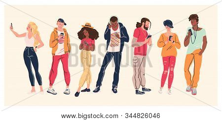 Portrait Of Group Of Young Teens In Stylish Clothes With Smartphones Taking Photo, Making Selfie, Te