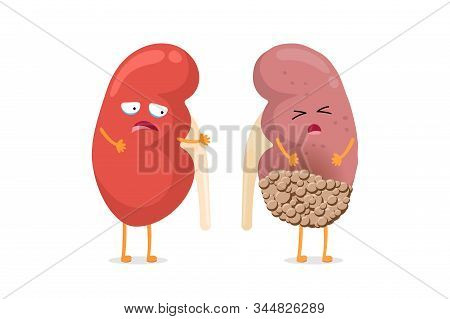 Healthy And Sad Suffering Sick Kidney With Cancer Characters. Human Anatomy Genitourinary System Int