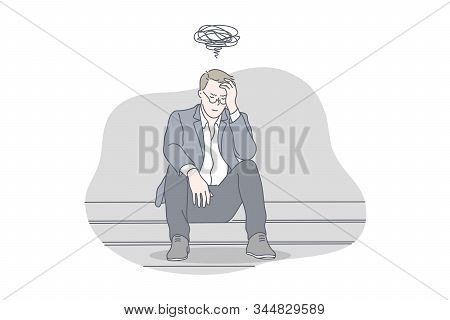 Busines, Depression, Stress, Problem, Work Concept. Young Exhausted, Nervous, Thoughtful Businessman