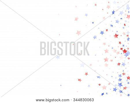 American Independence Day Stars Background. Holiday Confetti In Us Flag Colors For President Day. Na