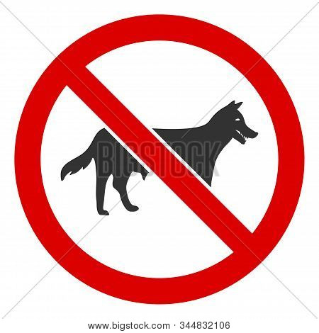 No Dog Bitch Raster Icon. Flat No Dog Bitch Pictogram Is Isolated On A White Background.