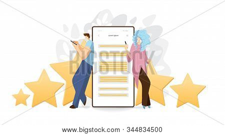 Feedback, Survey Vector Flat Concept With People, Man And Woman Sitting On Big Rating Stars, Writing