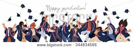 Vector Flat Set Of Happy Graduated Man And Woman In College And University Education Students In Aca