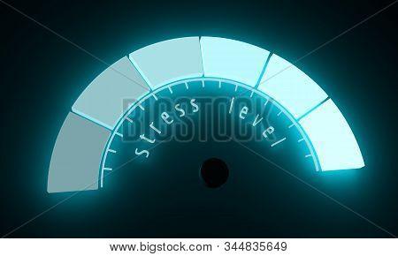 Neon Shine Scale. Stress Level Measuring Device Icon. Sign Tachometer, Speedometer, Indicators. Info
