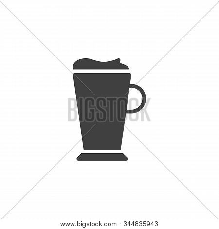 Latte Coffee Glass Vector Icon. Filled Flat Sign For Mobile Concept And Web Design. Frappe Glass Gly