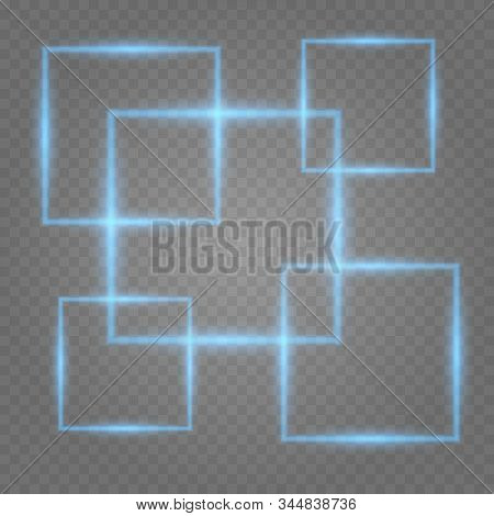 Neon Rectangle Lamp Wall Sign Isolated On Transparent Background. Template Neon Sign. Colorful Neon