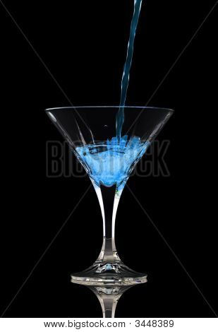 Pouring A Blue Cocktail