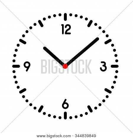 Illustration Of Clock Or Wristwatch With Black Dial, Numbers And Red Center. Isolated On White Backg