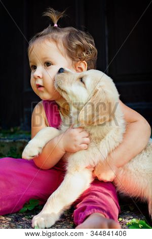 Funny Photo Of Happy Baby Cuddling Beautiful Golden Labrador Retriever Puppy. Girl Play With Dog. Fa