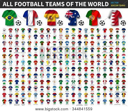 All National Flags Of The World . National Waving Jersey Soccer Teams With Country Flag Pattern . Ve