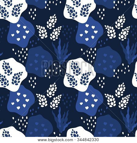 Seamless Pattern. Abstract Spots And Floral Elements, Collage. Abstract Natural Background In Trend