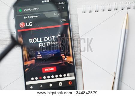 Seoul, South Korea - 15 January 2020: Lg Corporation Official Website Homepage Under Magnifying Glas