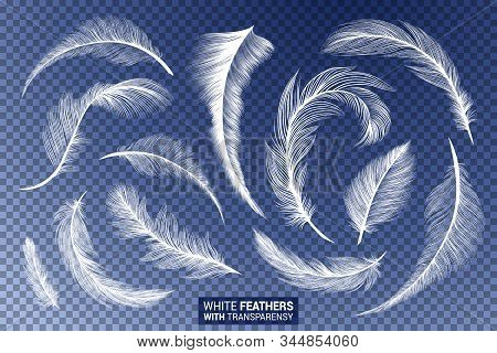 Feathers, White Fluffy Isolated Falling Plumes With Transparent Effect On Blue Background. Realistic