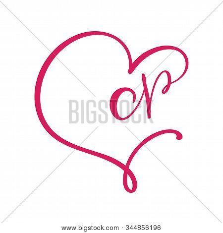 Vector Vintage Floral Monogram Letter N. Calligraphy Element Logo Valentine Flourish Frame. Hand Dra