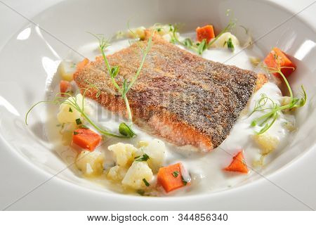 Trout fillet in cream sauce with vegetable stew of fresh greens on white restaurant plate isolated. Bbreaded salmon or red fish meat with cauliflower and carrots closeup