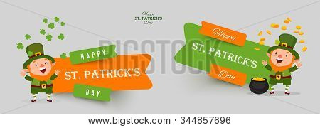 Saint Patricks Day Set Of Paper Cut Vector Banners. Leprechaun With Pot Of Gold Juggles With Gold Co