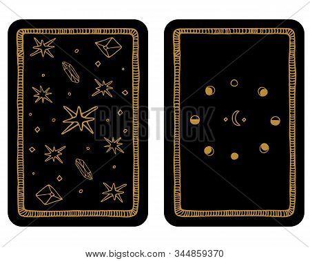 Hand Drawn Major Arcana Tarot Card Template. The Reverse Side.tarot Vector Illustration In Vintage S