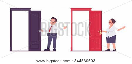 Fat Male, Female Clerk Standing At Open Door. Heavy Middle Aged Business People, Office Manager, Civ