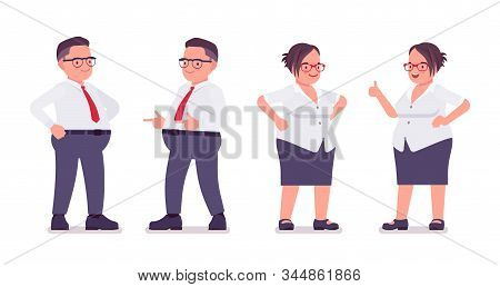 Fat Male, Female Clerk In Positive Emotions. Heavy Middle Aged Business People, Office Manager, Civi