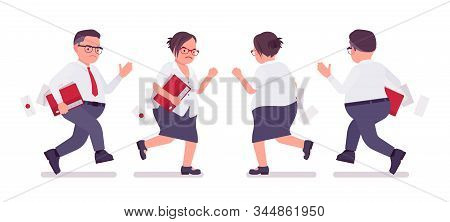 Fat Male And Female Clerk Running. Heavy Middle Aged Business People, Office Manager And Civil Servi