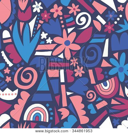 Abstract Flower Collage Seamless Vector Pattern. Florals And Geometric Shapes Repeating Background.
