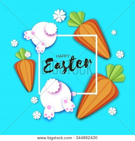 Cute White Easter Bunnies And Carrots. Rabbit Booty. Happy Easter In Paper Cut Style. Spring Blue. F