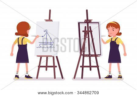 School Girl Drawing Picture At Artist Easel. Cute Small Lady In Pinafore Dress On Art Lesson, Kid, S
