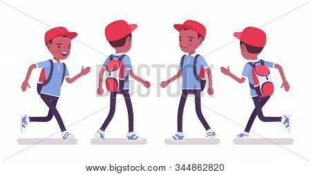 Black School Boy In Casual Wear Walking, Running. Cute Small Guy With Rucksack, Active Young Kid, Sm