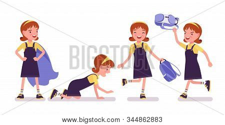 Schoolgirl Having Fun After School. Cute Happy Small Lady In Pretty Pinafore Dress With Rucksack, Ac