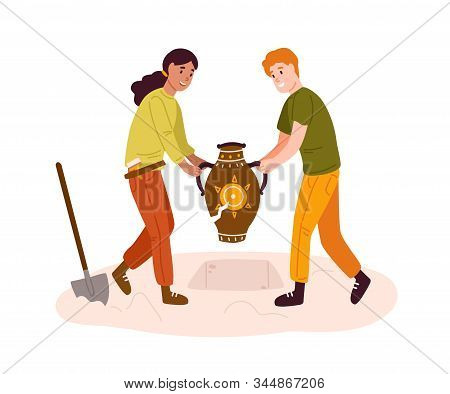 Smiling Cartoon Archeologists Digging Out Prehistoric Vase Vector Illustration. Man And Woman Making