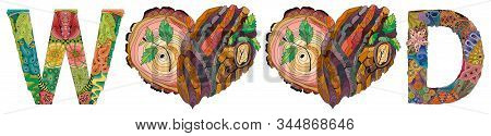 Wood With Doodle Hearts With Tree Bark Texture And Young Shoots
