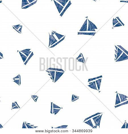 Three Types Of Vector Hand-drawn Navy Blue Sailing Boats With Watercolor Texture Marine Themed Desig