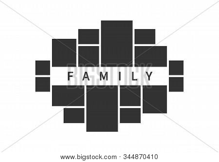 Family Photo Collage Frames Template For Interior Design. Vector Collage Layout For Photo Montage.