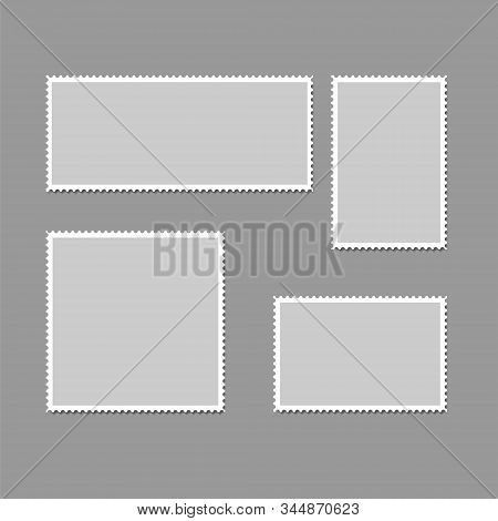 Postage Stamps Frames. Blank Postage Stamps In Different Size For Retro Paper Postcard And Post Deli
