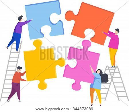 Tiny People Assemble A Puzzle. Metaphor Of Teamwork. Human Resource. The Cohesion Of People Around T
