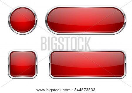 Web Buttons. Red Shiny Icons With Chrome Frame. Vector 3d Illustration Isolated On White Background