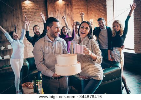 Photo Of Group Best Crazy Friends Visit Married Couple Waiting Baby Arranging Surprise Baby Party Fu
