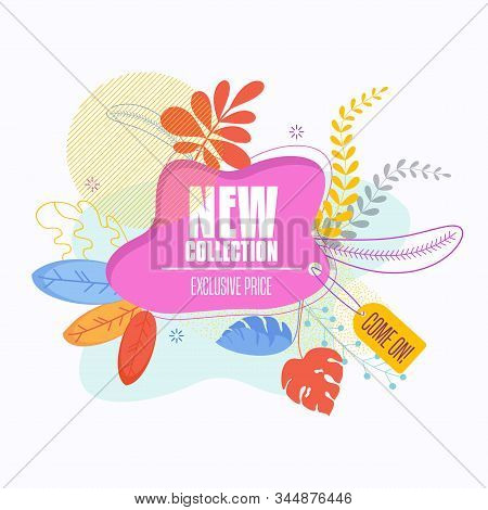 Bright Colorful Label For Promoting New Collection Of Goods In Store. Bright Illustration With Tropi