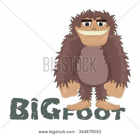Vector Funny Cartoon Sasquatch, Yeti, Bigfoot Standing Friendly Smile. Caveman Standing And Smiling