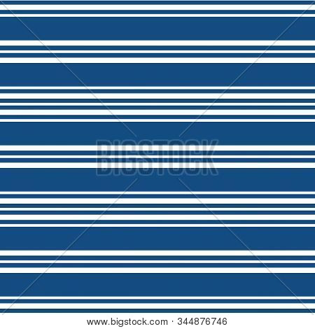 Classic Nautical Design With Sets Of Wide And Narrow White Stripes. Seamless Vector Geometric Patter
