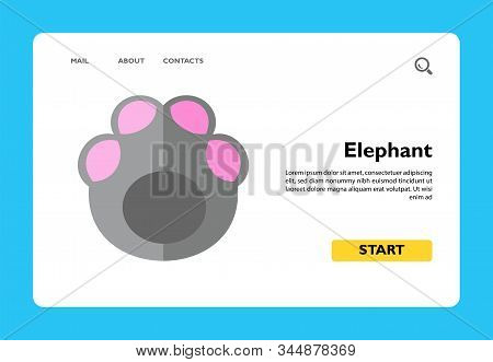 Icon Of Pink And Gray Elephant Footprint. Step, Following Footprint, Mammal. Animal Concept. Can Be