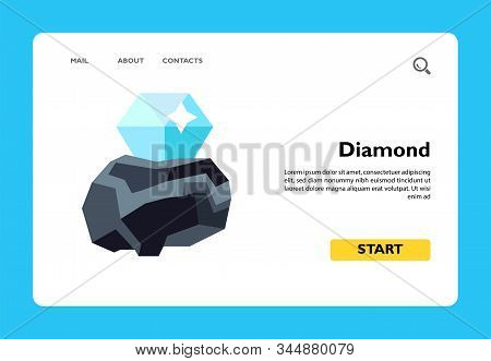 Vector Icon Of Diamond In Rough. Jewelry, Gemstone, Gem Cutting. Gems Concept. Can Be Used For Topic