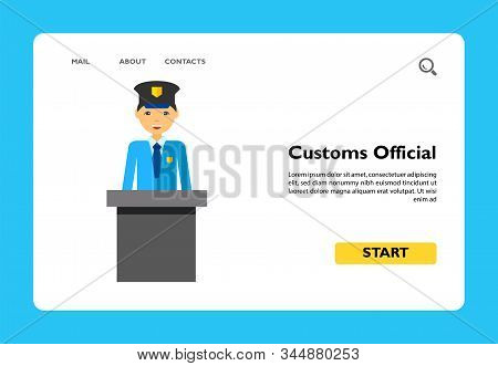 Customs Official. Control, Check, Airport. Airport Concept. Can Be Used For Topics Like Airport, Tra
