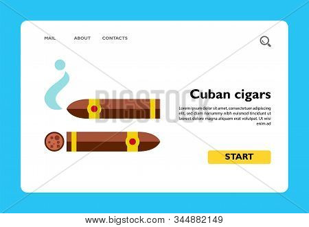 Icon Of Cuban Cigars. Tobacco, Smoking, Luxury. Addiction Concept. Can Be Used For Topics Like Healt