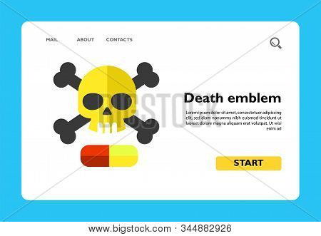 Vector Icon Of Death Emblem With Narcotic Drug Pill. Drug, Death, Addiction. Narcotic Concept. Can B