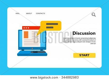 Icon Of Discussion On Internet. Advertising, Laptop, Text, Remark. Blogging Concept. Can Be Used For