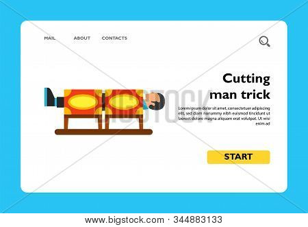 Vector Icon Of Cutting Man Trick. Illusionist, Magic Trick, Illusion Show. Illusionist Tricks Concep