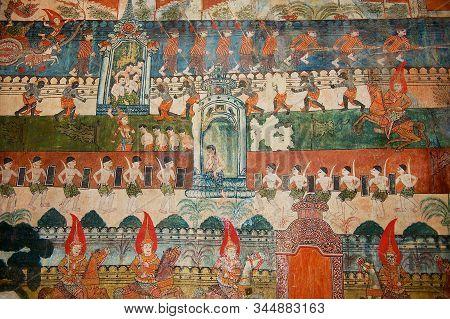 Luang Prabang, Laos - April 14, 2012: Interior Wall Decoration At Wat Pa Huak Temple In Luang Praban