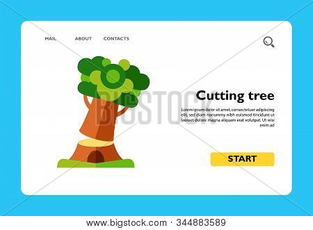 Icon Of Falling Tree. Wood Cutting, Firewood, Lumbering. Felling Concept. Can Be Used For Topics Lik